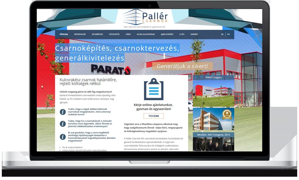 Pallér Csarnok weboldala